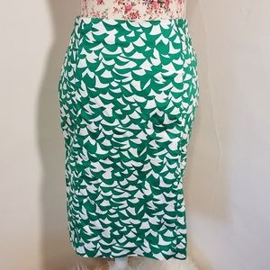 NYC Green Leaf Pencil Skirt Ruched Sides
